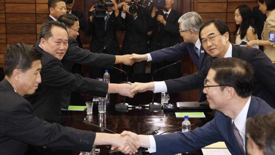 North Korea and South Korea will hold their third high-level summit in September. The meetings were agreed to at  a meeting of South Korean Unification Minister Cho Myoung-Gyon, second from right, who shook hands with his North Korean counterpart Ri Son Gwon, second from left, after their meeting in Panmunjom.