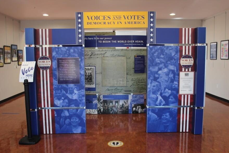 Photo of museum display on American democracy