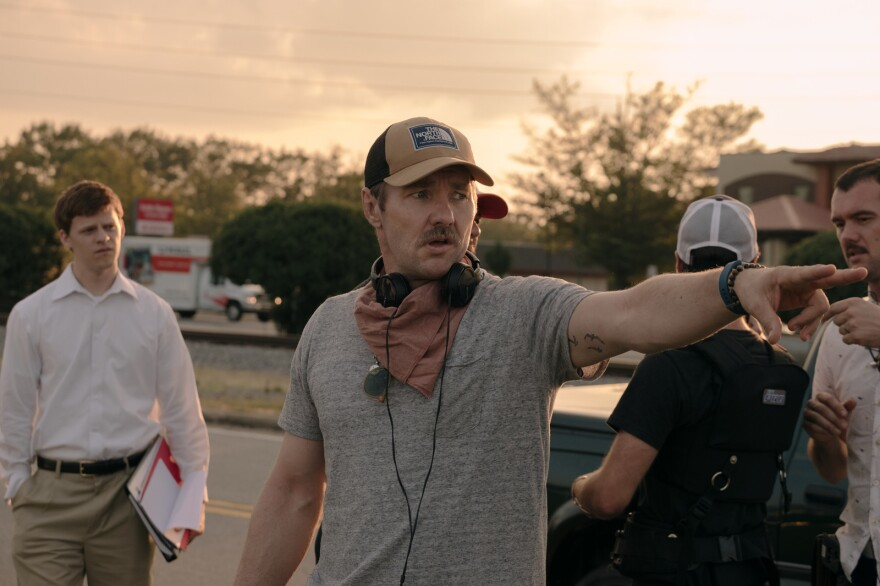 "Joel Edgerton (center) directed <em>Boy Erased</em>, which stars Lucas Hedges (left) as a college student sent away to a gay ""conversion therapy"" center."