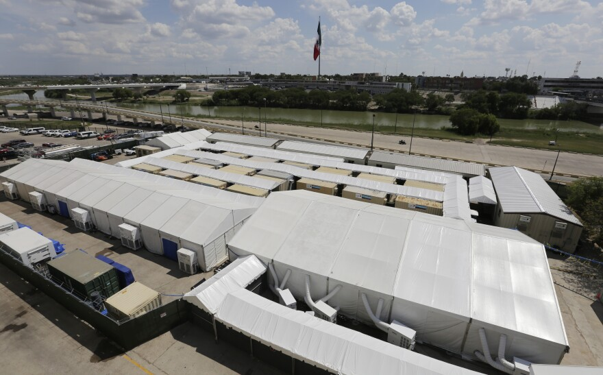 The Migration Protection Protocols Immigration Hearing Facility in Laredo is made up of tents and portable pods along the Rio Grande. Immigrant advocates say the Remain in Mexico program is designed to eviscerate asylum protections for migrants.