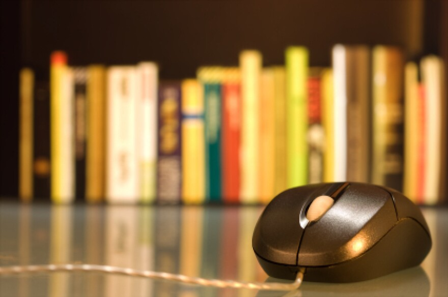 A computer mouse in front of a shelf of books.
