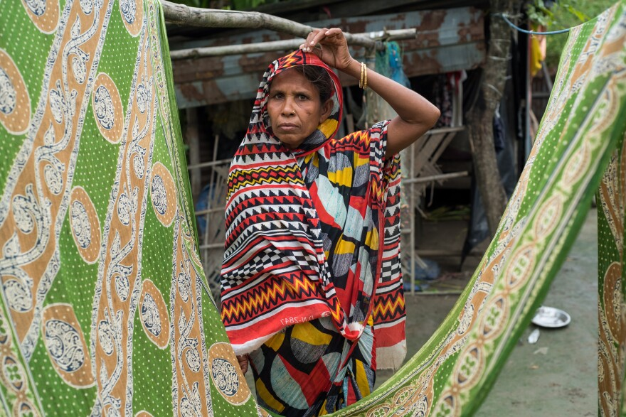 "Sahera Begum, 45, was left off the NRC. Her husband is a carpenter, and she tends to livestock. They lost previous homes to erosion. Like many Muslim women in Assam, she did not attend school. ""How is it possible that my father and all my brother's names are in the NRC, and mine is not?"" she says. ""It is not as if I fell from heaven without a father."""