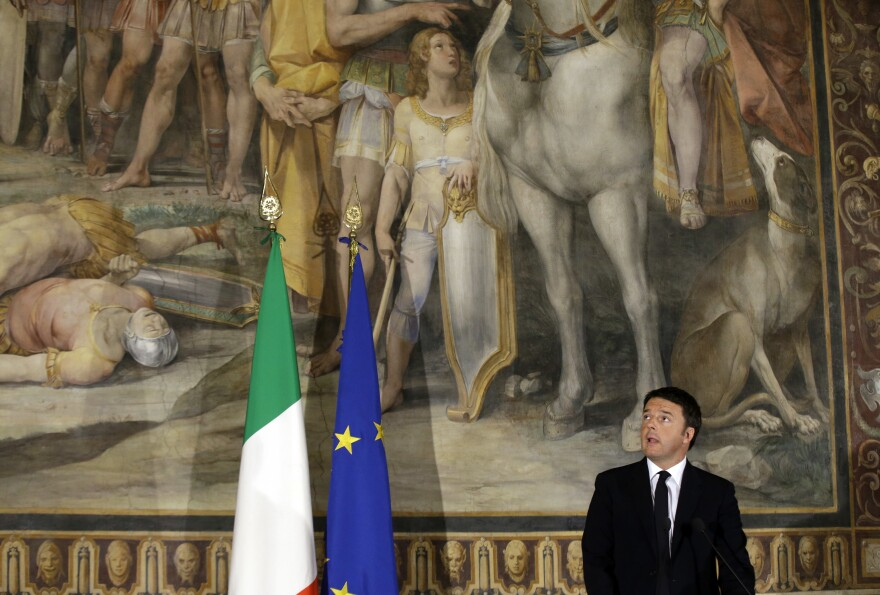 "Italian Prime Minister Matteo Renzi speaks at a meeting titled ""Italy, Europe, An Answer to Terror,"" held at the Capitolini Museum in Rome last November. Renzi's government is offering all Italian 18-year-olds 500 euros to spend on cultural events. The goal is to educate and to help a growing number of young immigrants assimilate."