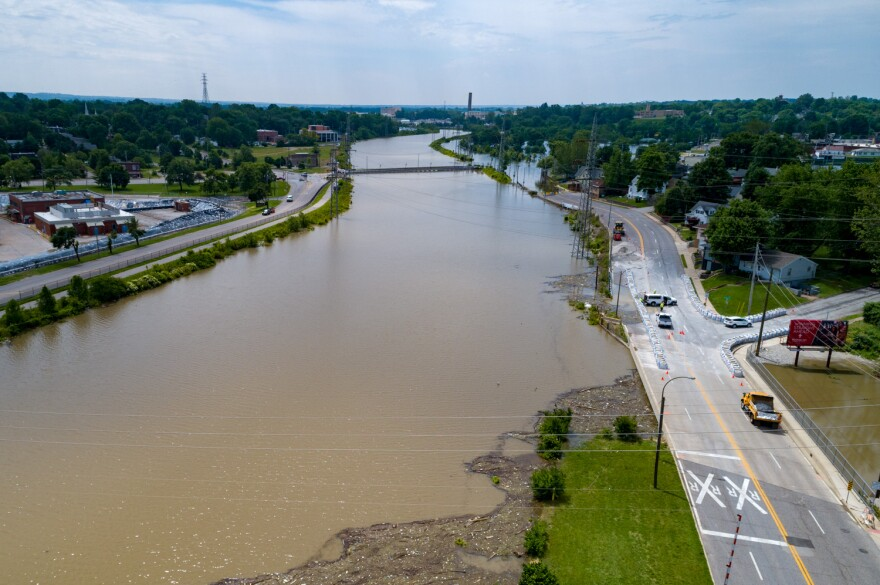 June 4, 2019. The River des Peres flows out of its banks south of I-55, near Gravois Creek and the Alabama Ave. bridge. The gauge just upstream at Morganford Road read more than 28 feet, which is the highest reading since at least 2002.
