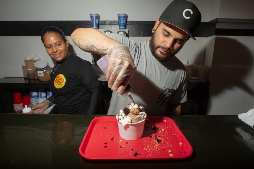 Castro makes a vegan coffee ice cream sundae at Rip's.
