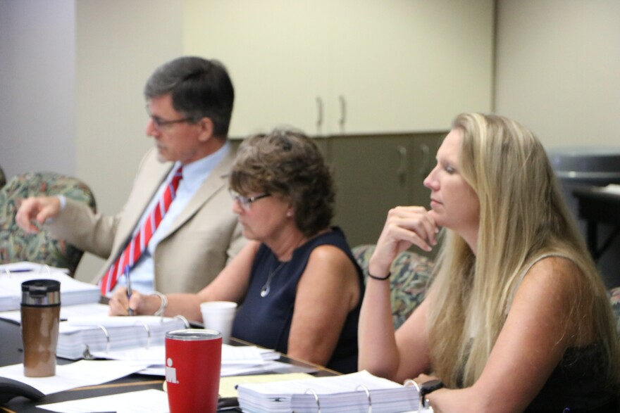 State Economist Amy Baker(center) listening to testimony on assault weapons.