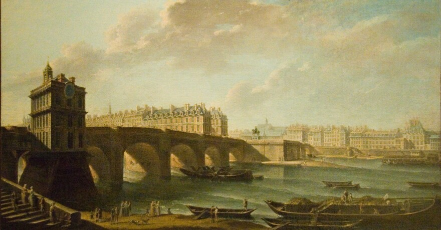 Le Pont Neuf, shown here in an 18th-century painting by Nicolas-Jean-Baptiste Raguenet, was completed in 1606 by Henry IV. The bridge's construction kicked off the reinvention of Paris in the 17th century. Today, it's the oldest standing bridge across the Seine.