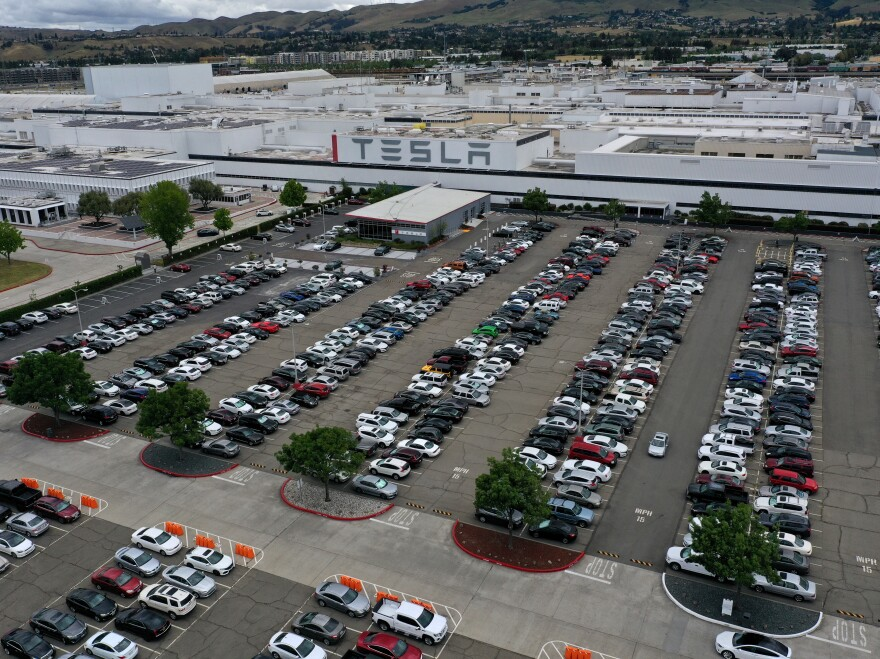 An aerial view of the Tesla Fremont Factory in Fremont, Calif., in May. Gov. Gavin Newsom signed an executive order on Wednesday that bans the sale of new gasoline-powered vehicles in the state by 2035.