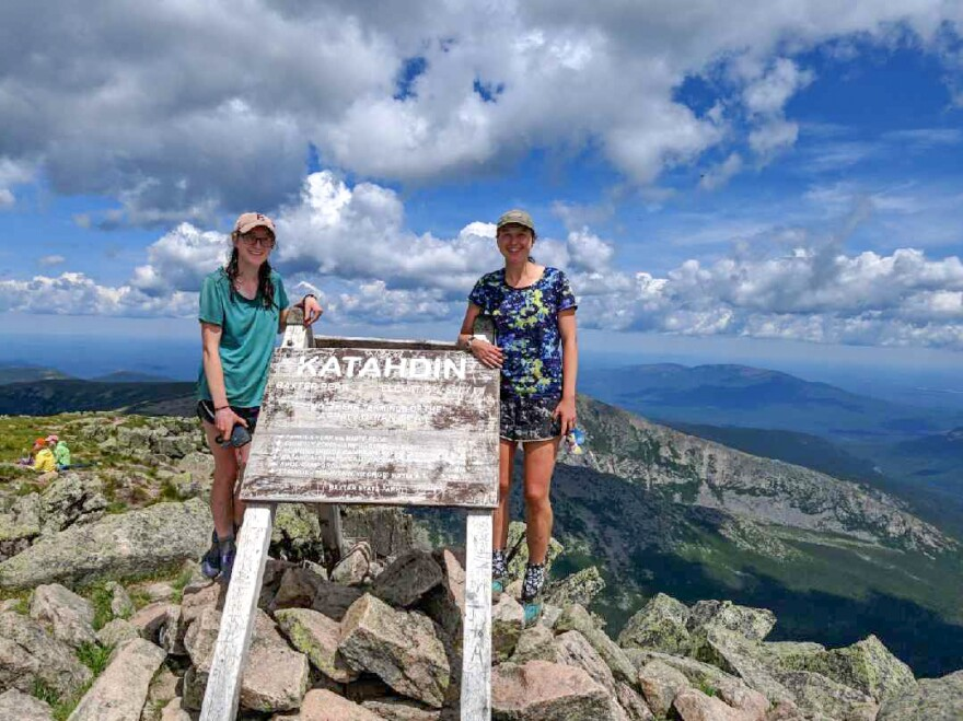 Mary Szatkowski (left) and Kristen Glennie at the summit of Mount Katahdin in Maine's Baxter State Park, the northern terminus of the Appalachian Trail. The women completed their hike on July 4.