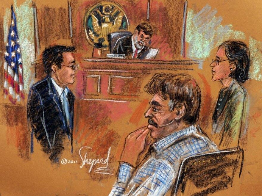 Manssor Arbabsiar (front, right) in court last October.