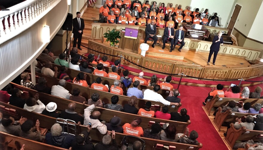 South Carolina churches are a prime spot for Democrats to reach out to African American voters. In this photo, Hillary Clinton campaigns at Cumberland United Methodist Church in 2016.