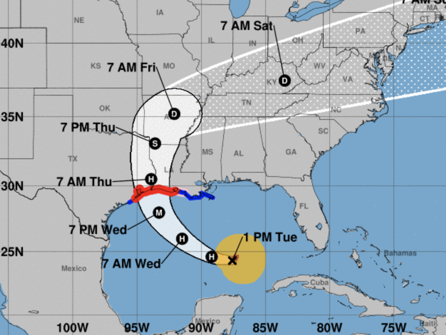 Hurricane Laura is predicted to make landfall near the Texas-Louisiana border — but forecasters say its rainfall and storm surge will likely affect a very large area.