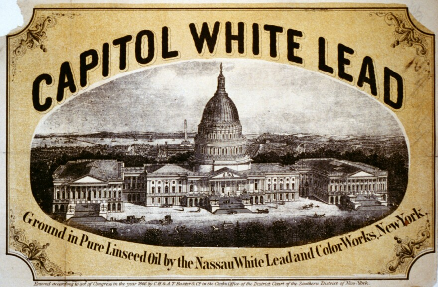 """Capitol White Lead paint advertisement from the 1860s. Lead used to be called the """"useful metal"""" that could be added to many products, including paint."""