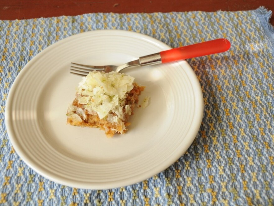 <p>A slice of Emily Dickinson's coconut cake, adapted for the 21st century.</p>