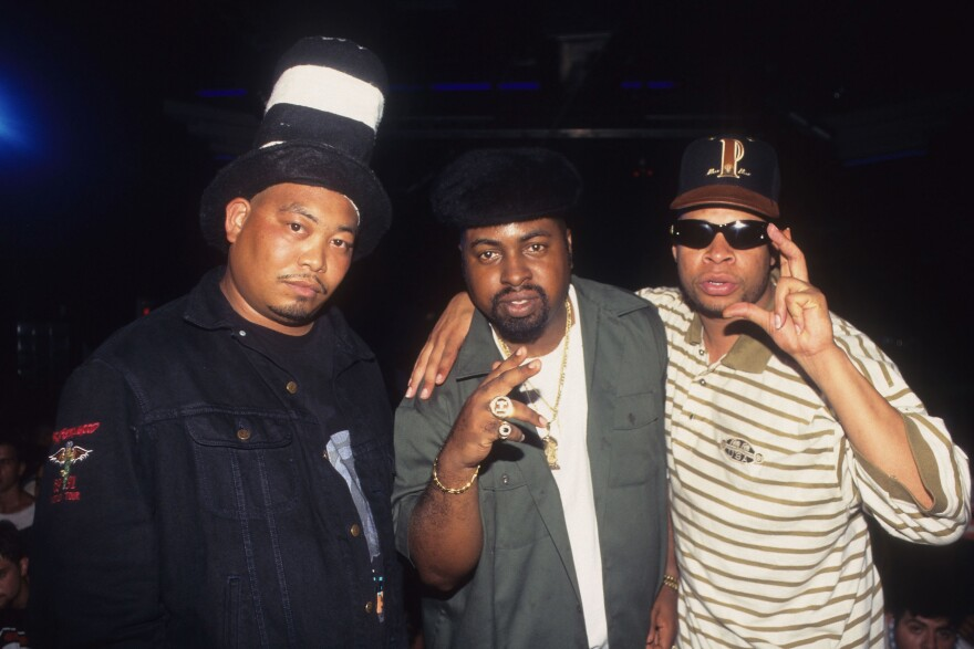 """Rapper Fresh Kid Ice (aka Christopher Wong Won) and The 2 Live Crew film the """"Shake A Lil' Somethin'"""" video at Zippers Nightclub in June of 1996 in Miami Beach, Fla."""