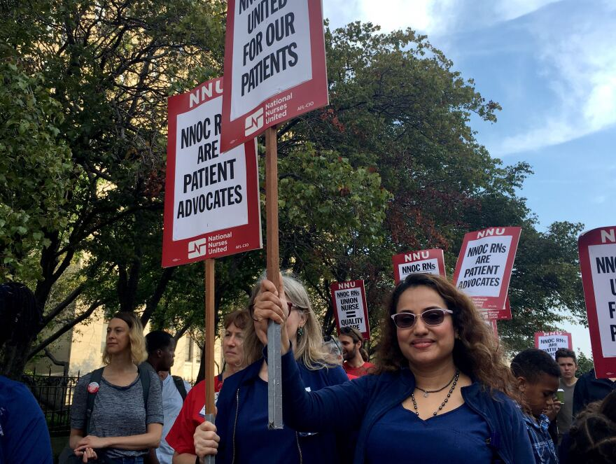 Members of the National Nurses Organizing Committee/National Nurses United union protest what they refer to as unsafe staffing levels at St. Louis University Hospital in Midtown on Sep. 9.