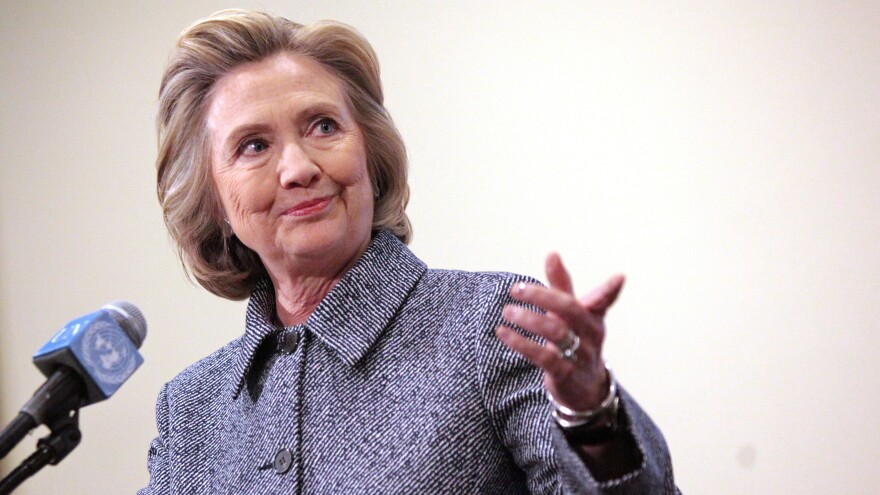 Hillary Clinton speaks to the media after keynoting a Women's Empowerment Event at the United Nations on Tuesday in New York City. Clinton answered questions about recent allegations of an improperly used email account during her tenure as secretary of state.