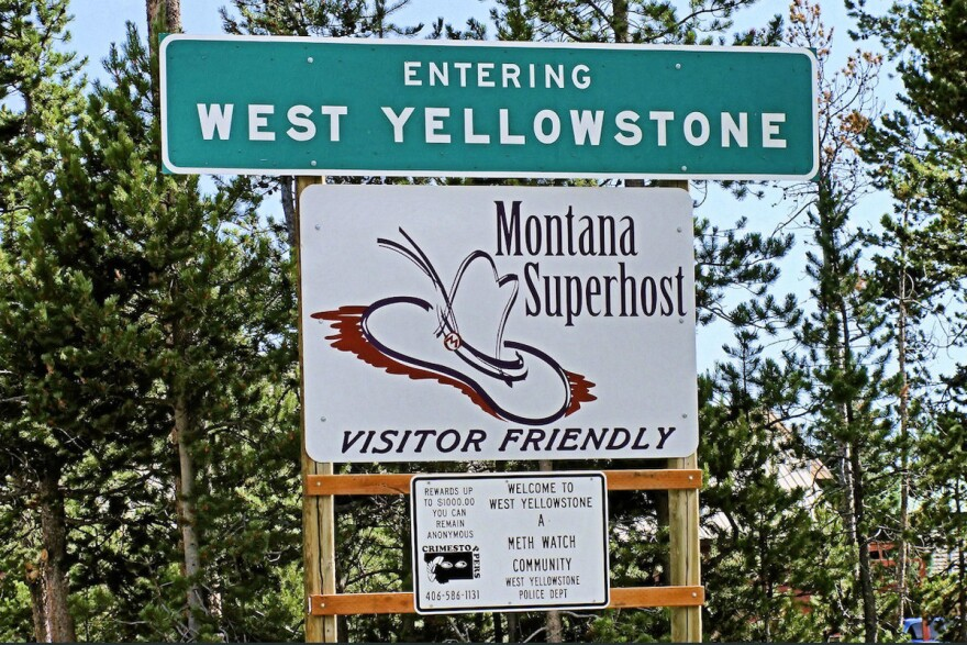 The entrance sign for West Yellowstone.