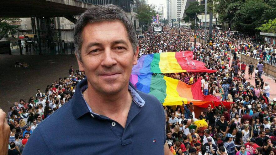 Randy Berry, the first U.S. special envoy for the rights of LGBTI persons, is shown at a gay pride rally in Sao Paulo, Brazil, last June. He says the U.S. is supporting activists worldwide but recognizes the risks they face in many countries. A gay activist who worked at the U.S. Embassy in Bangladesh was hacked to death this week.