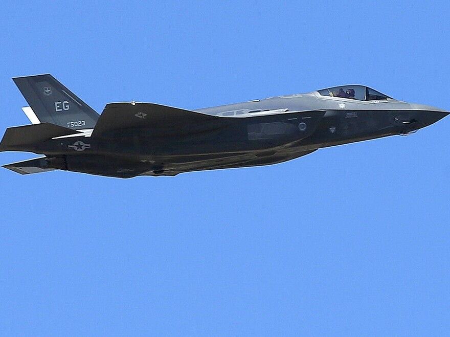 A U.S. Air Force F-35A Lightning II makes a flyby after an unveiling celebration in this 2014 photo. Japan's military reported on Tuesday that one of its F-35A jets crashed during a training mission.
