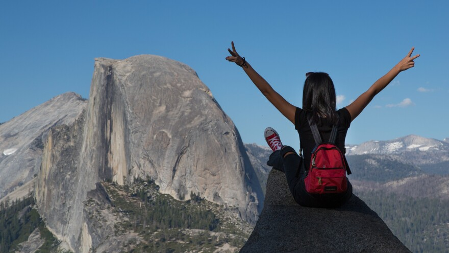 YOSEMITE VALLEY, CA - JULY 1: People take pictures at Glacier Point with Half Dome as a backdrop on July 1, 2019, in Yosemite Valley, California. With the arrival of summer, visitors are greeted in the Valley with large crowds, traffic congestion, road construction projects, and hot weather. (Photo by George Rose/Getty Images)