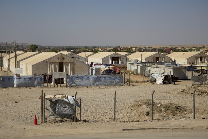 A camp where more than 1,300 women and children, all foreign nationals and believed to be relatives of Islamic State militants, were kept on the outskirts of Mosul. They have been moved by Iraqi officials, to the concern of aid agencies.