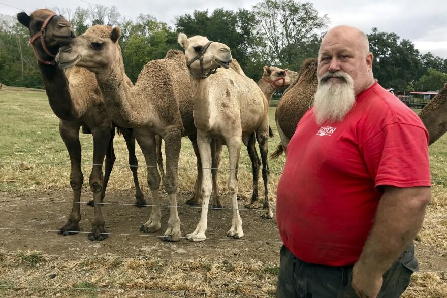 Scott Allen, who runs Pettit Creek Farms in bone-dry Bartow County, Ga., poses for a photo Oct. 7, 2019.
