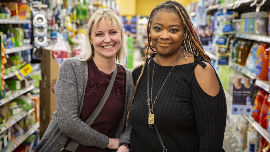 Heather Martin (left) was a student at Columbine High School in 1999. She met Sherrie Lawson, who worked at the Washington, D.C., Navy Yard in 2013 during the shooting there, through Martin's support organization, the Rebels Project.