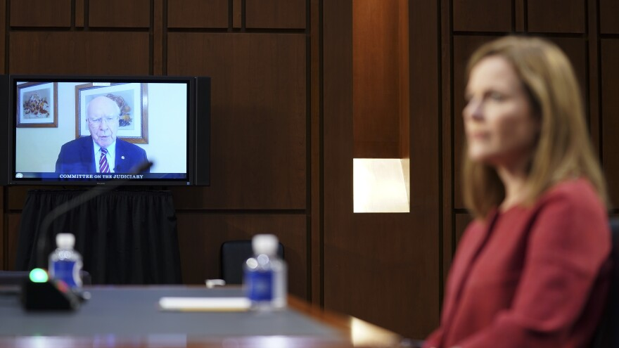 Sen. Patrick Leahy, D-Vt., speaks via videoconference during Amy Coney Barrett's Supreme Court confirmation hearing on Tuesday.
