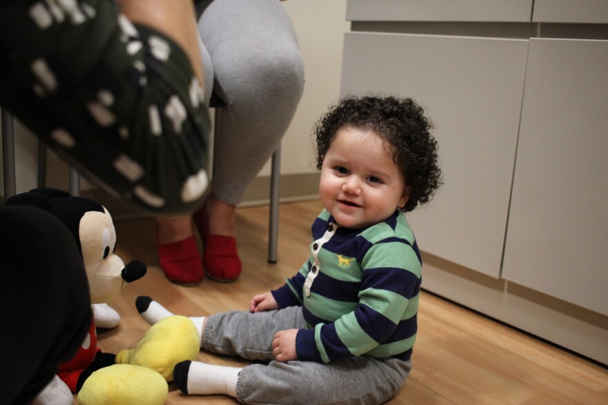 Yariel's motor development looks right on track for a 1-year-old.