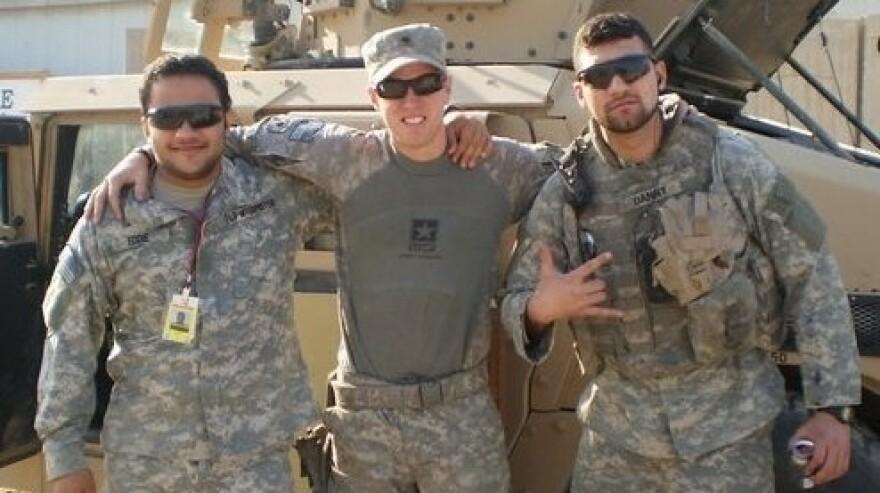 Iraq War veteran Peter Farley (center), with his former interpreter Wisam al-Baidhani (left) and another Iraqi interpreter in Baghdad in 2009.