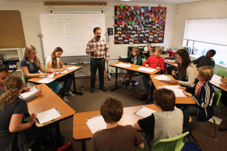 "Seventh-grade students respond to teacher Tim Ogburn's questions about a Japanese creation myth. Their school, <a href=""http://blackpinecircle.org/"">Black Pine Circle</a>, in Berkeley, Calif., follows the Socratic method."