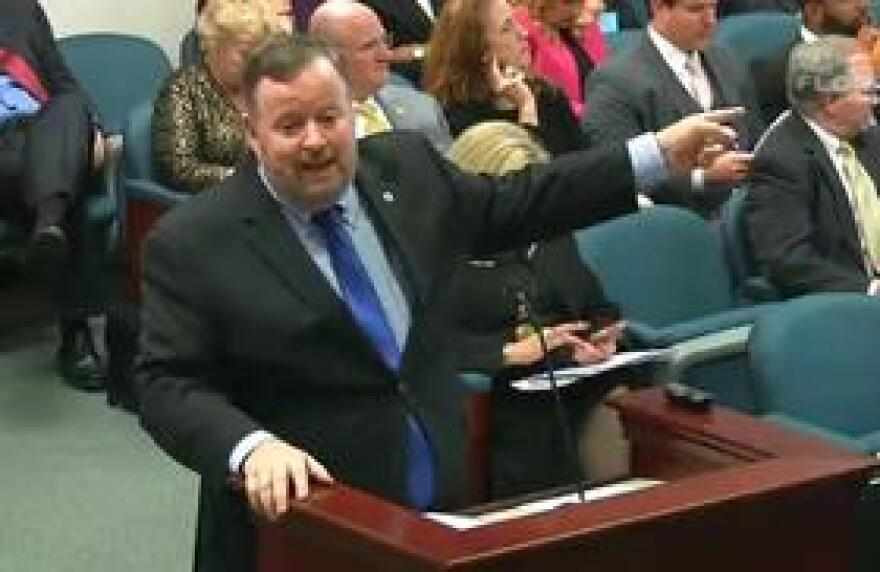 Florida Department of Children and Families Secretary Mike Carroll speaking to a group of lawmakers last week.