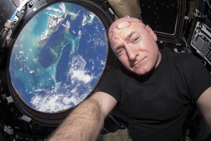 Astronaut Scott Kelly takes a photo of himself inside the  International Space Station in 2015. (Scott Kelly/NASA via AP)