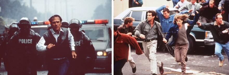 1997's <em>Volcano</em> (Tommy Lee Jones, left) and <em>Dante's Peak</em> (Pierce Brosnan, Linda Hamilton, right) both feature eruptions and humans running around in a panic.