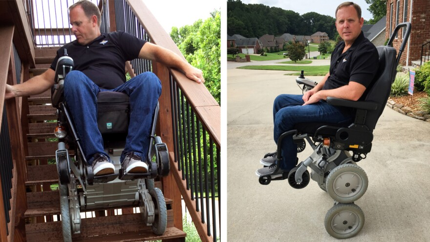 Gary Linfoot was paralyzed in a helicopter crash in Iraq. He's one of the few veterans still using an iBOT, which allows him to rise up to eye level using Segway-style balancing technology. The wheelchair was discontinued in 2009, but may soon be reissued.