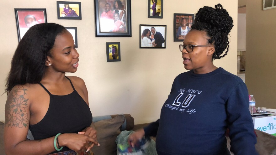 Filmmaker and nurse Brittany Ferrell talks with film project subject Gina Stringer.