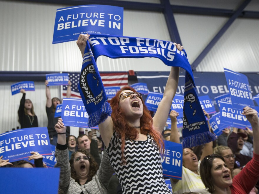 A Bernie Sanders supporter cheers as the Vermont senator speaks in Portsmouth, N.H.