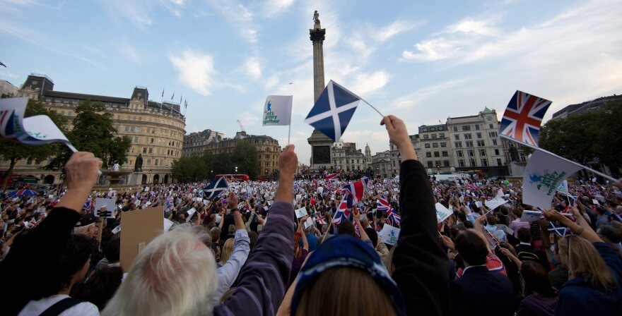 """People gather in London's Trafalgar Square on Monday for a rally urging Scotland to stay with the U.K. Polls are showing that the """"yes"""" and """"no"""" camps are neck and neck."""