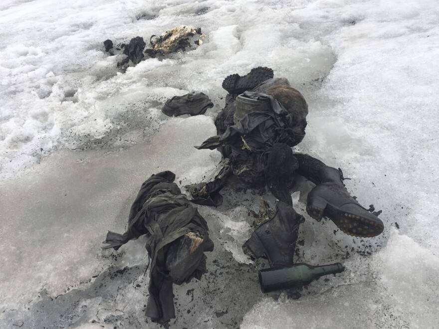 Shoes and clothing are visible at a glacier in southwestern Switzerland where two bodies were found.