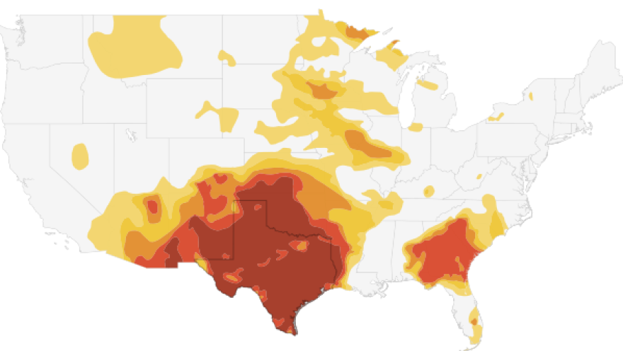 """<a href=""""http://stateimpact.npr.org/texas/drought/"""">Click here</a> to explore the StateImpact interactive."""