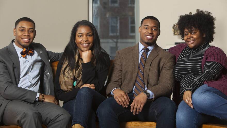 Howard University students (left to right) Kevin Peterman, Taylor Davis, Leighton Watson and Ariel Alford are the subjects of NPR's <em>Project Howard</em>. They'll be keeping audio diaries as they finish their final semester of college and look toward their futures.