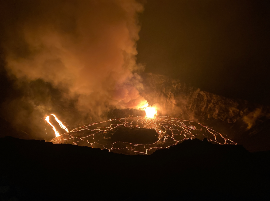 As of about 8 a.m. on Dec. 23, crews note that the Kilauea summit lava lake depth is more than triple that of the water lake that existed in the crater until the evening of Dec. 20, when it was vaporized.