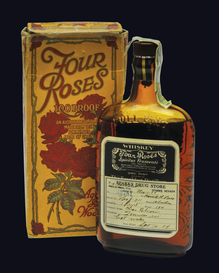 During Prohibition, whiskey could legally be sold as medicine. This particular bottle of Four Roses bourbon was prescribed to a patient in Sparks, Nev., in 1924. The label tells patients to mix 2 ounces of whiskey with hot water. From<em><strong> </strong>The Art of American Whiskey</em> by Noah Rothbaum.