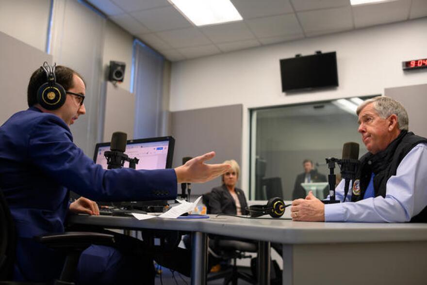 St. Louis Public Radio's Jason Rosenbaum interviews Parson on Dec. 13, at St. Louis Public Radio's studios.