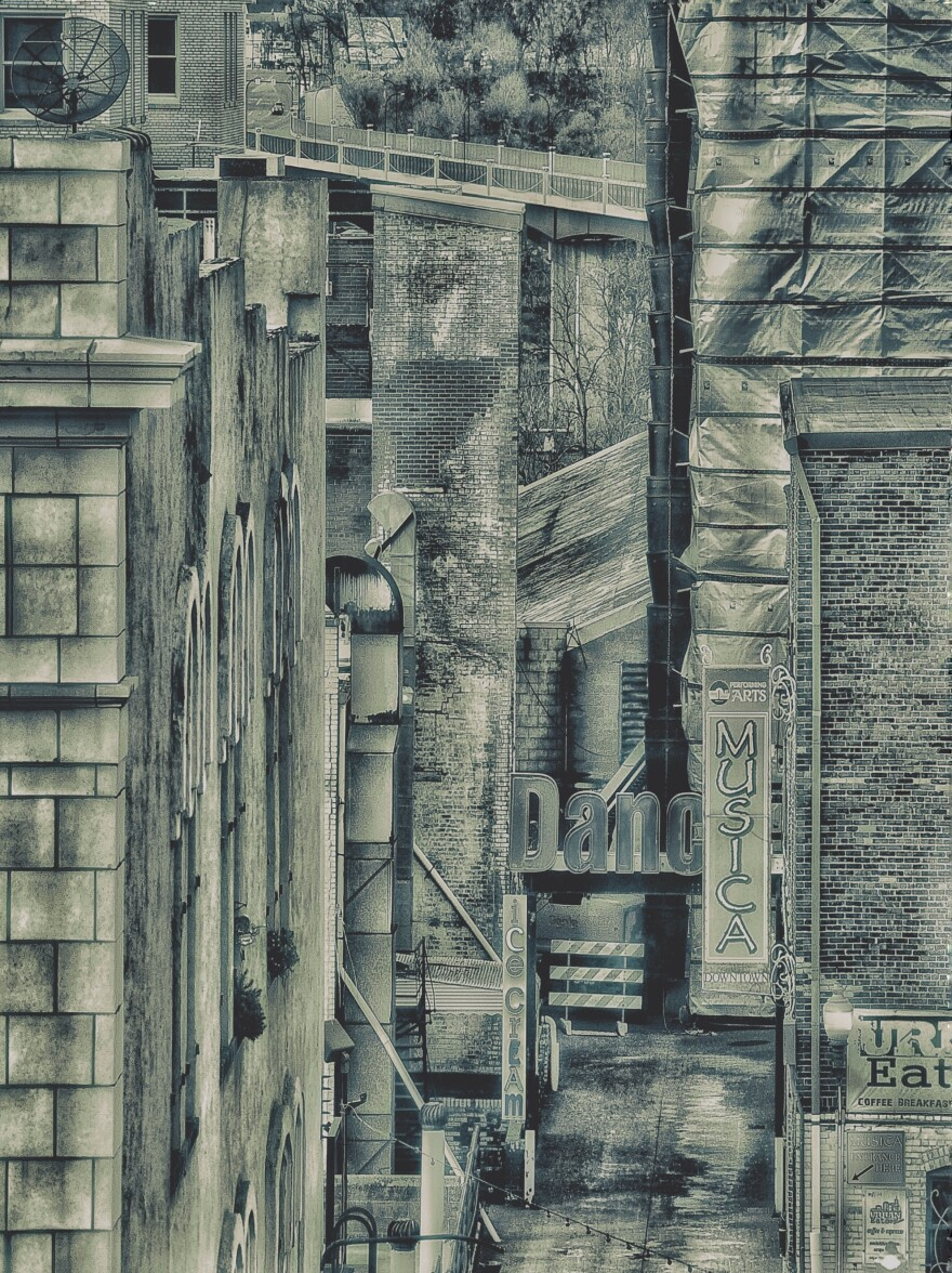 Thomas Skala's 'Verticalibration' is a unique view down an Akron alleyway. It placed second in the exhibition.