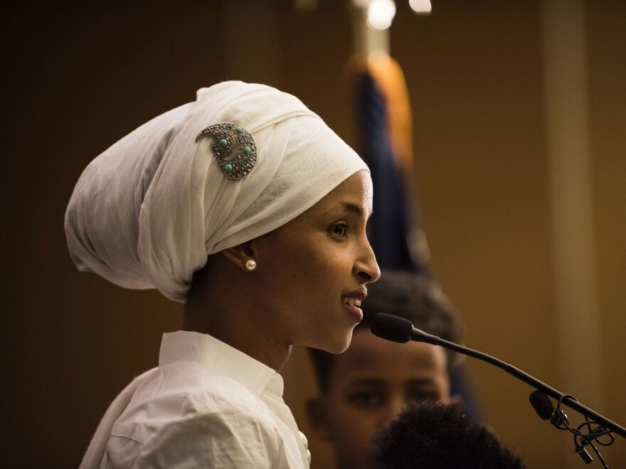 Ilhan Omar, a candidate for state representative for District 60B in Minnesota, gives an acceptance speech on election night in Minneapolis.