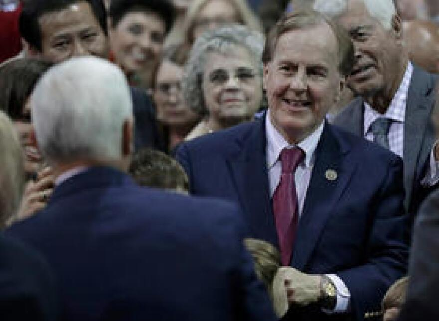 Rep. Robert Pittenger (R-NC), right, smiles at Vice President Mike Pence after a tax policy event in Charlotte on Friday, April 20.