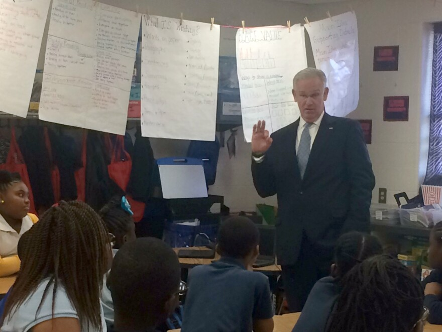 Missouri Gov. Jay Nixon talks to students at Moline elementary school in Riverview Gardens Monday, Nov. 7, 2016.