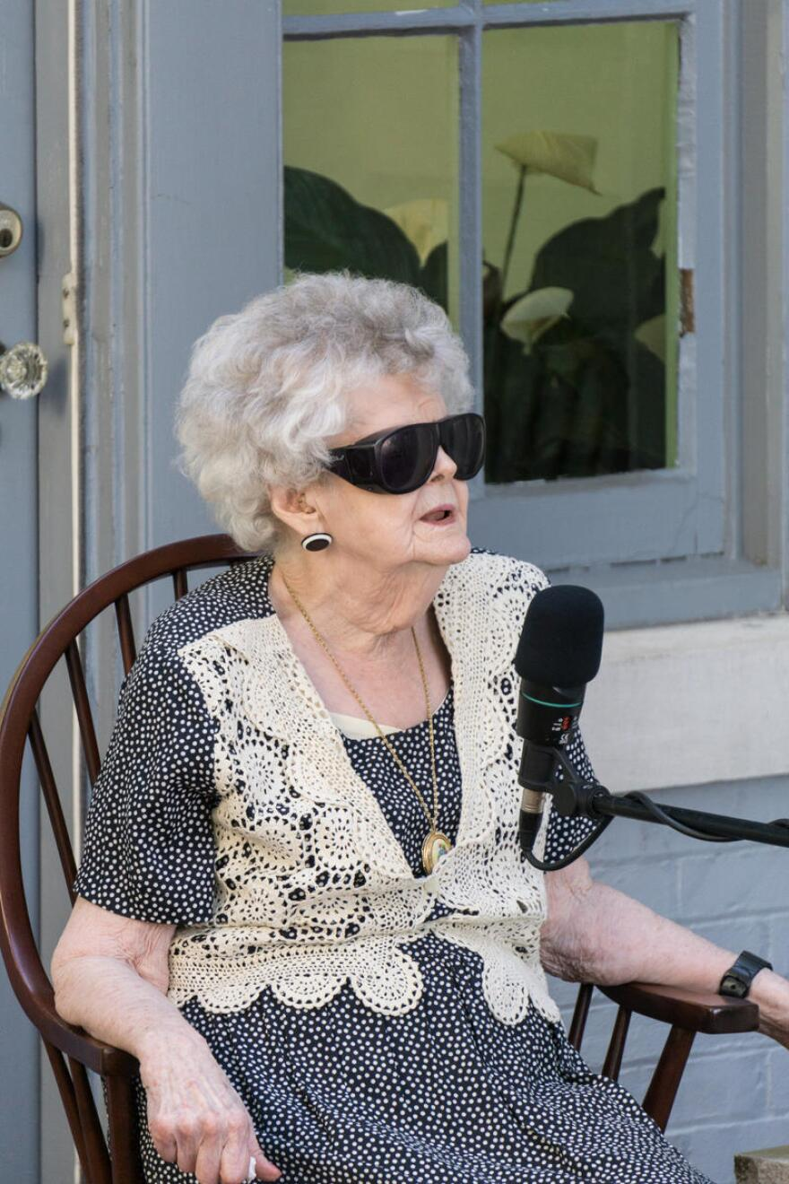 Phyllis Marks performing outside the Humanities Council's MacFarland Hubbard House, in 2016.
